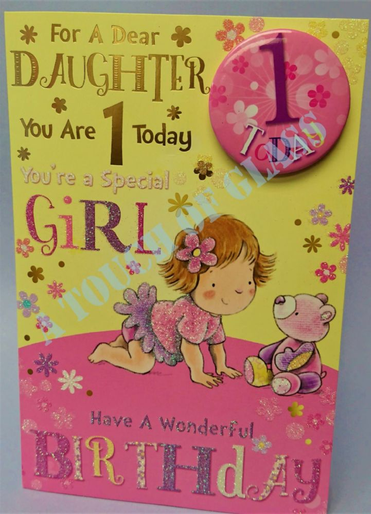 Badge Birthday Card - 1 Year Old Daughter
